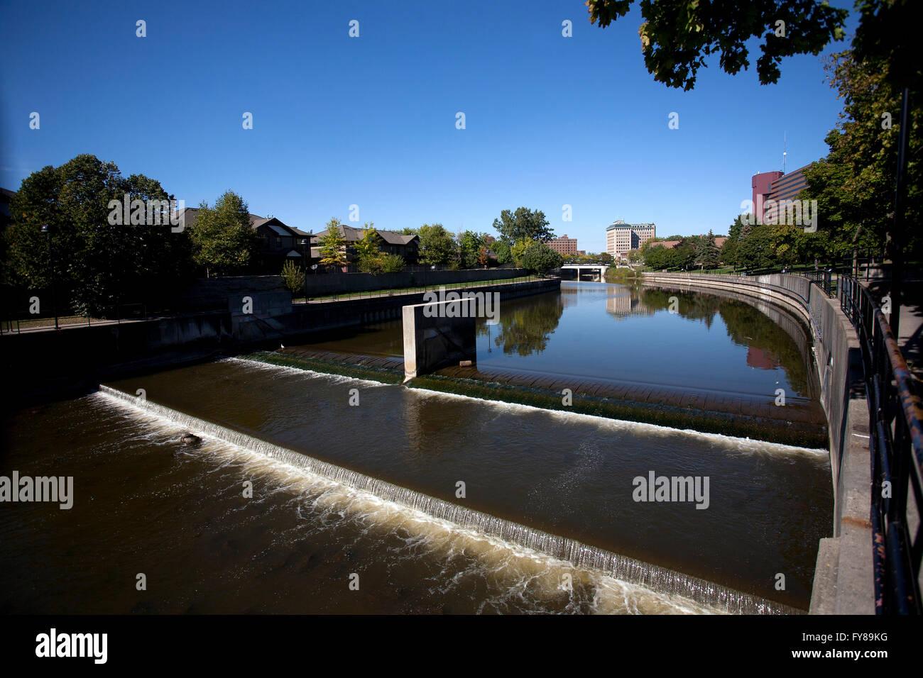 Flint River in Flint, Michigan. - Stock Image