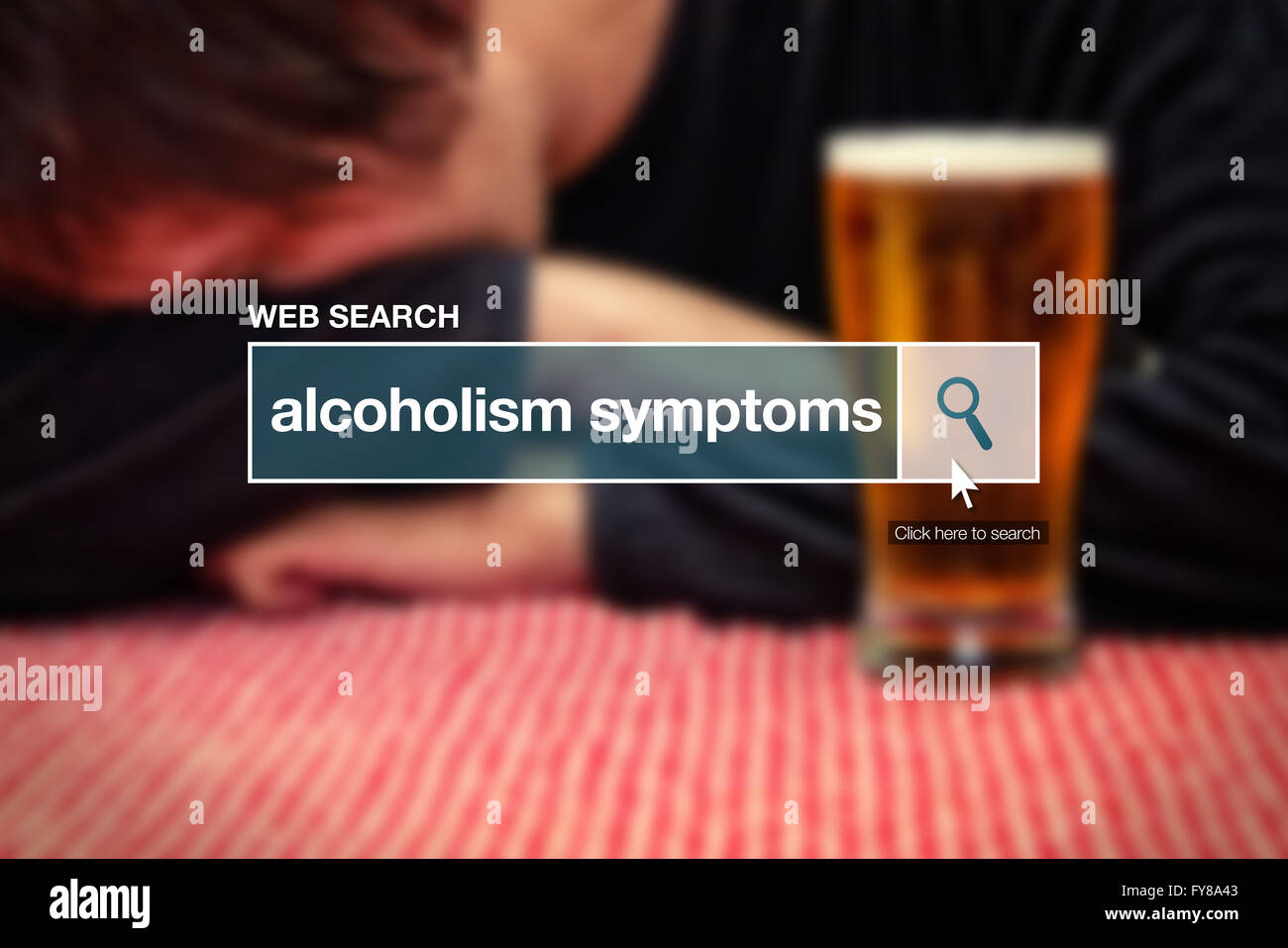 Web search bar glossary term - alcoholism symptoms definition in internet glossary. - Stock Image