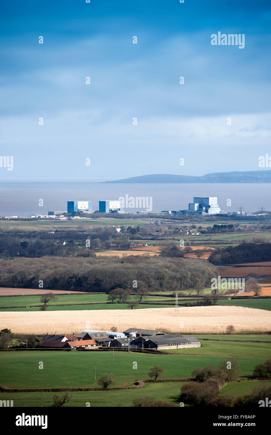 The site of EDF Energy's Hinkley Point C nuclear power station, with existing twin reactors of Hinkley A (left), Stock Photo