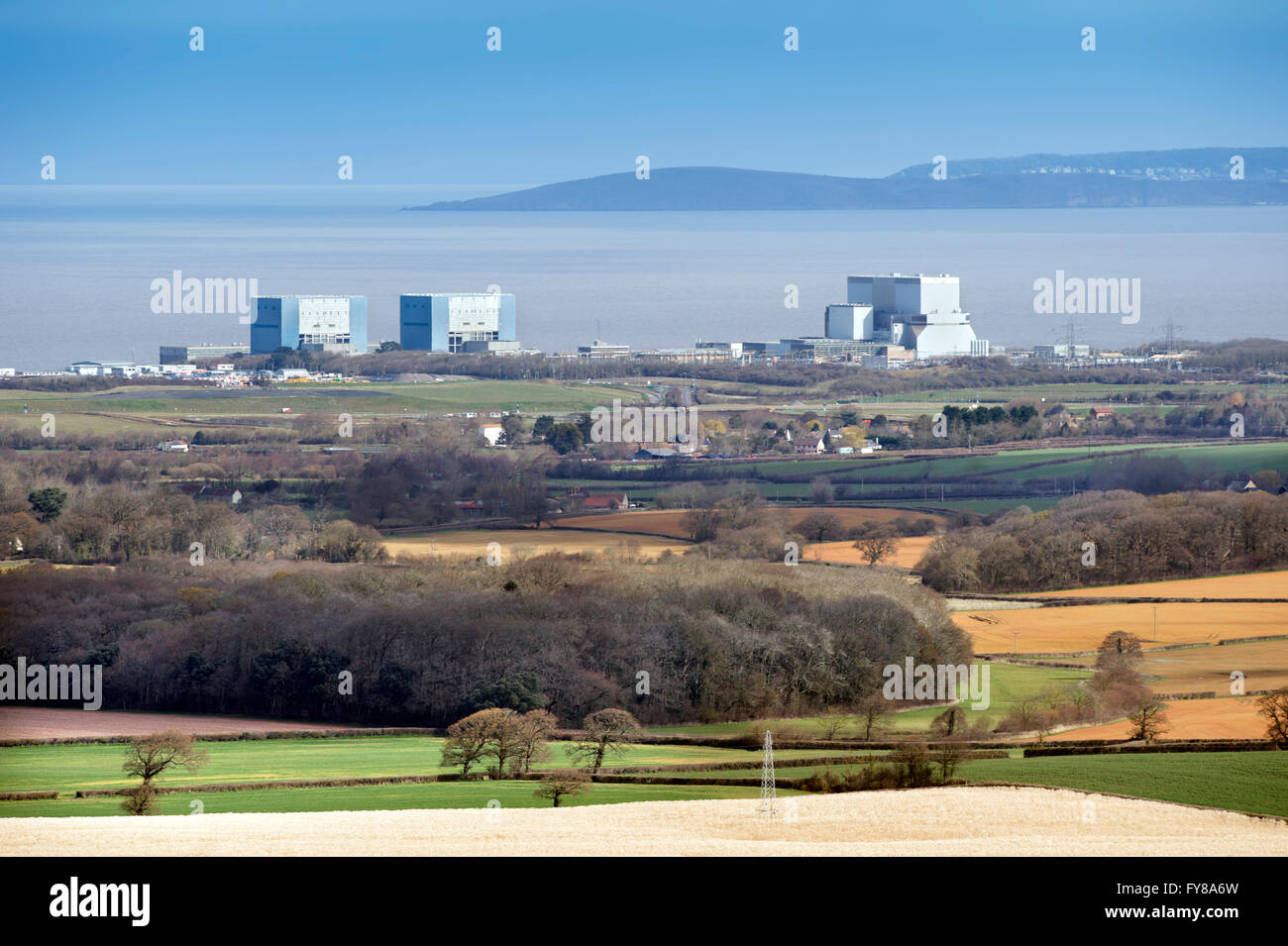 The site of EDF Energy's Hinkley Point C nuclear power station, with existing twin reactors of Hinkley A (left), - Stock Image
