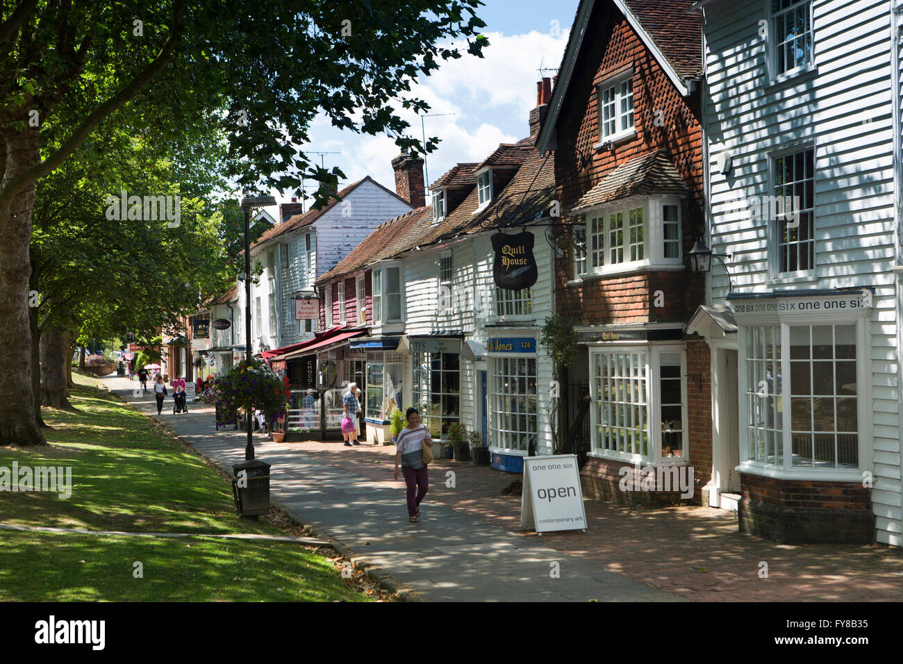 UK, Kent, Tenterden, High Street, picturesque tile hung and weatherboarded shops near West Cross - Stock Image