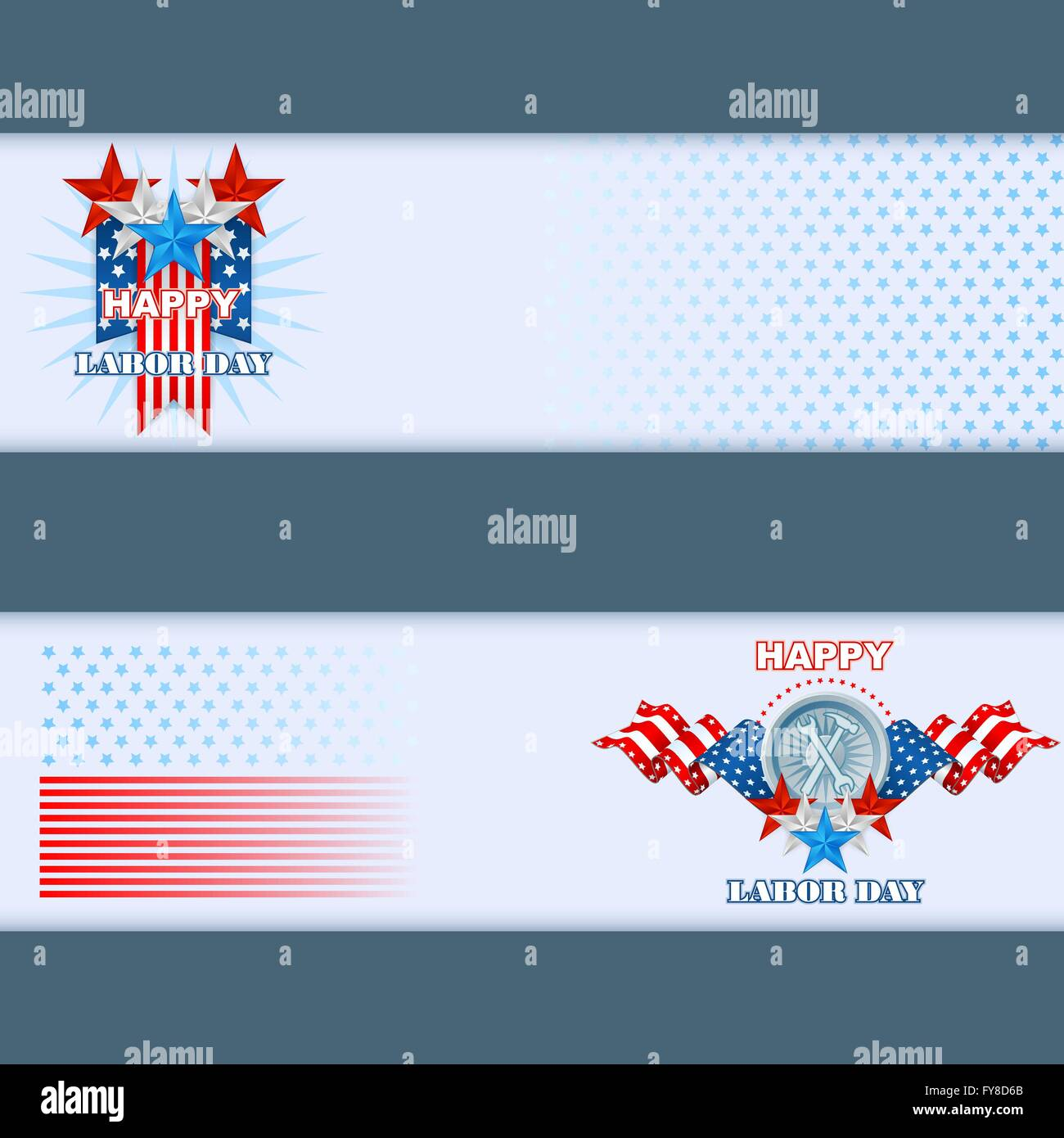set of web banner design template with national american flag colors