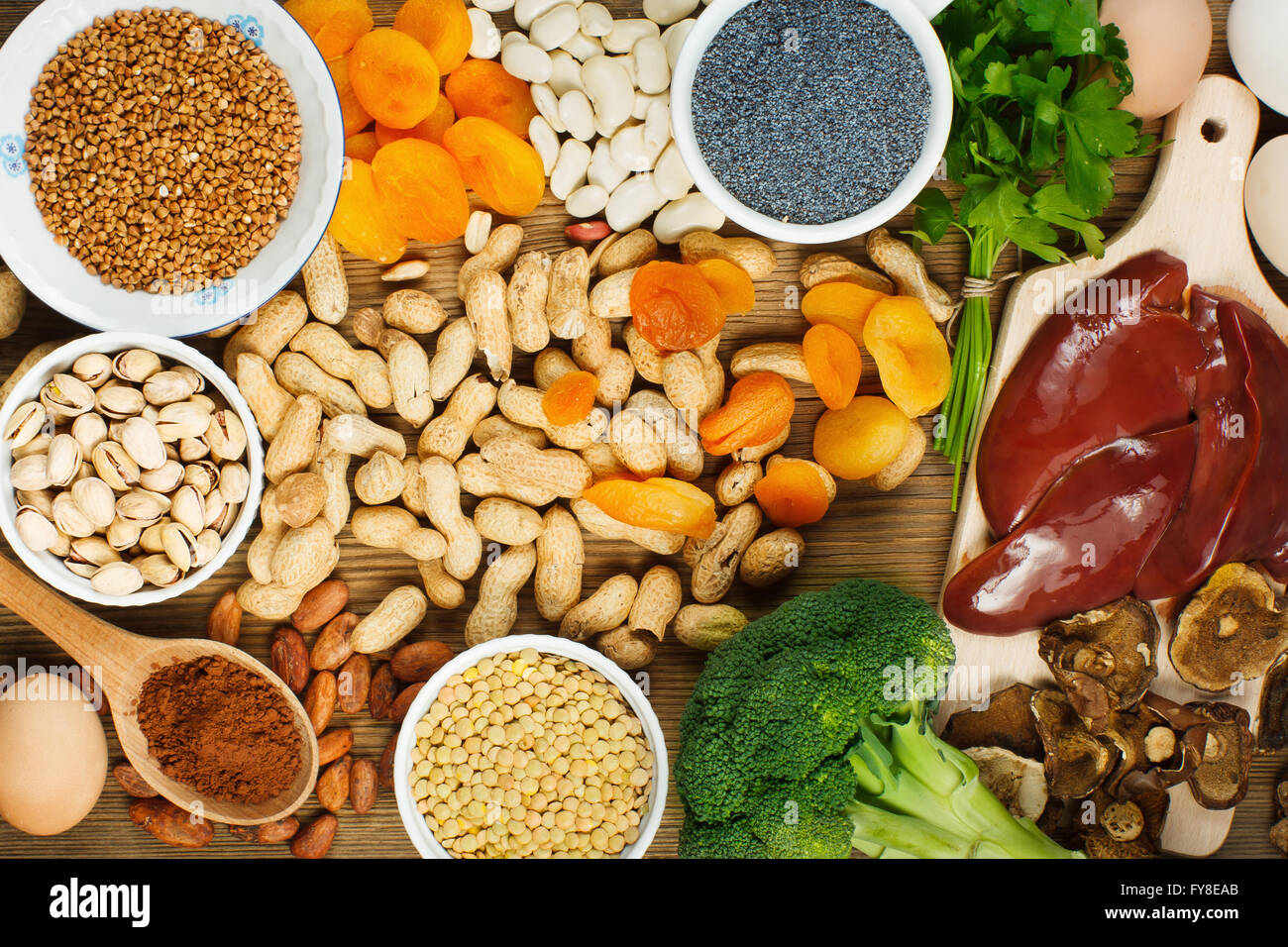 Collection iron rich foods - Stock Image