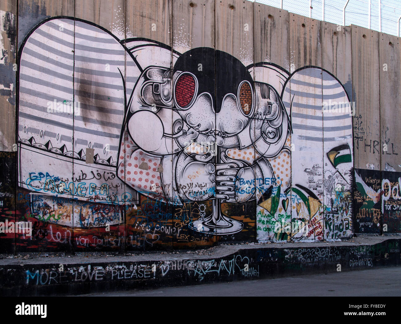 Graffiti Palestinian side along the West Bank (Bethlehem) - Stock Image
