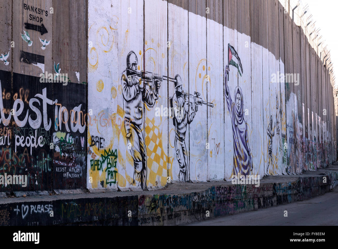 Graffiti Palestinian side on the wall along the West Bank ( Bethlehem) - Stock Image
