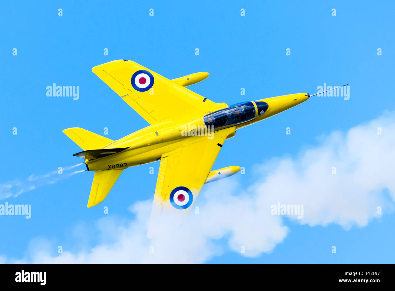 Folland Gnat T.Mk1 in flight, painted in the colours of the RAF's Yellowjacks display team - Stock Image