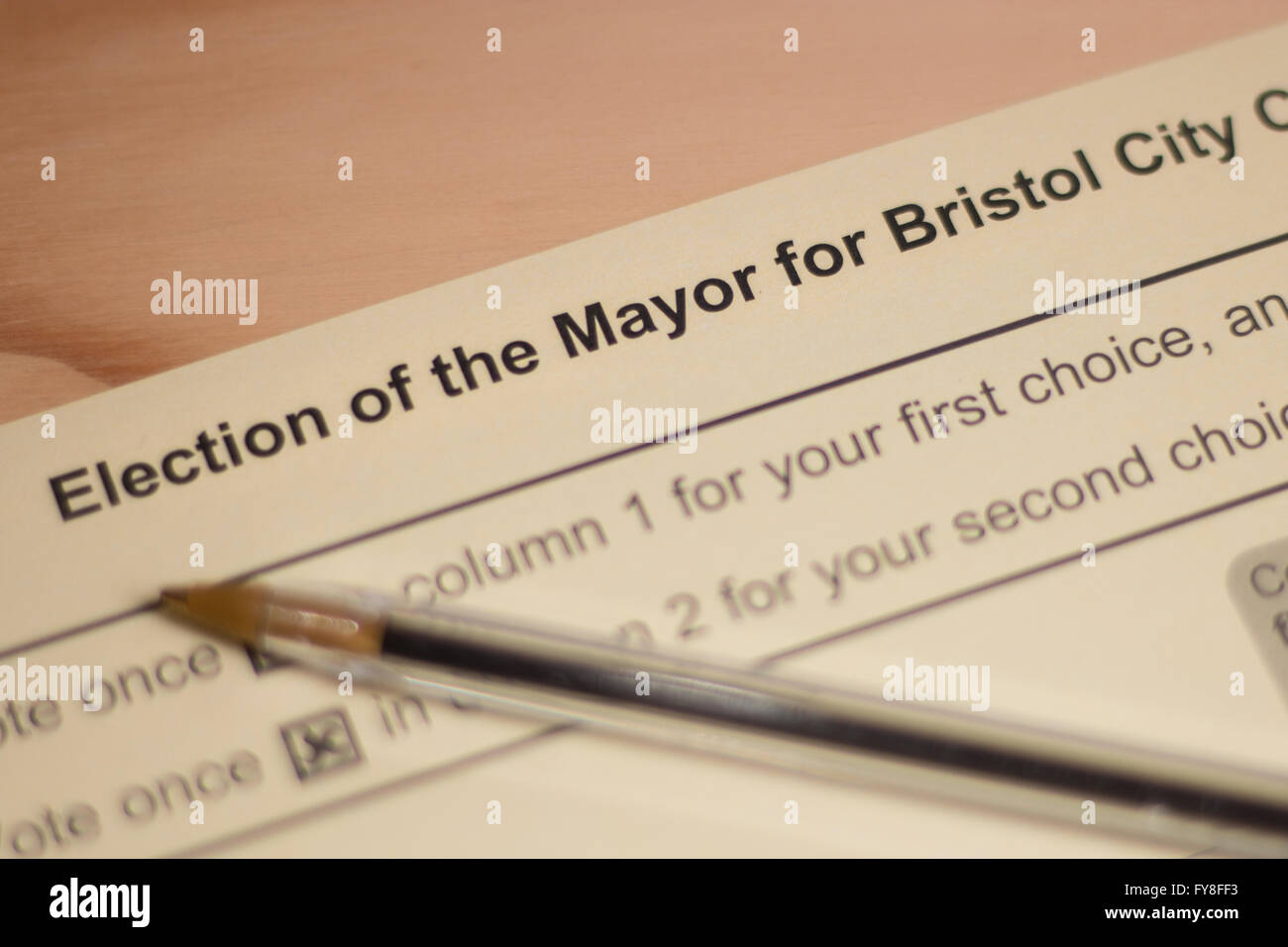 Close of a ballot for the Mayor Election in Bristol - Stock Image