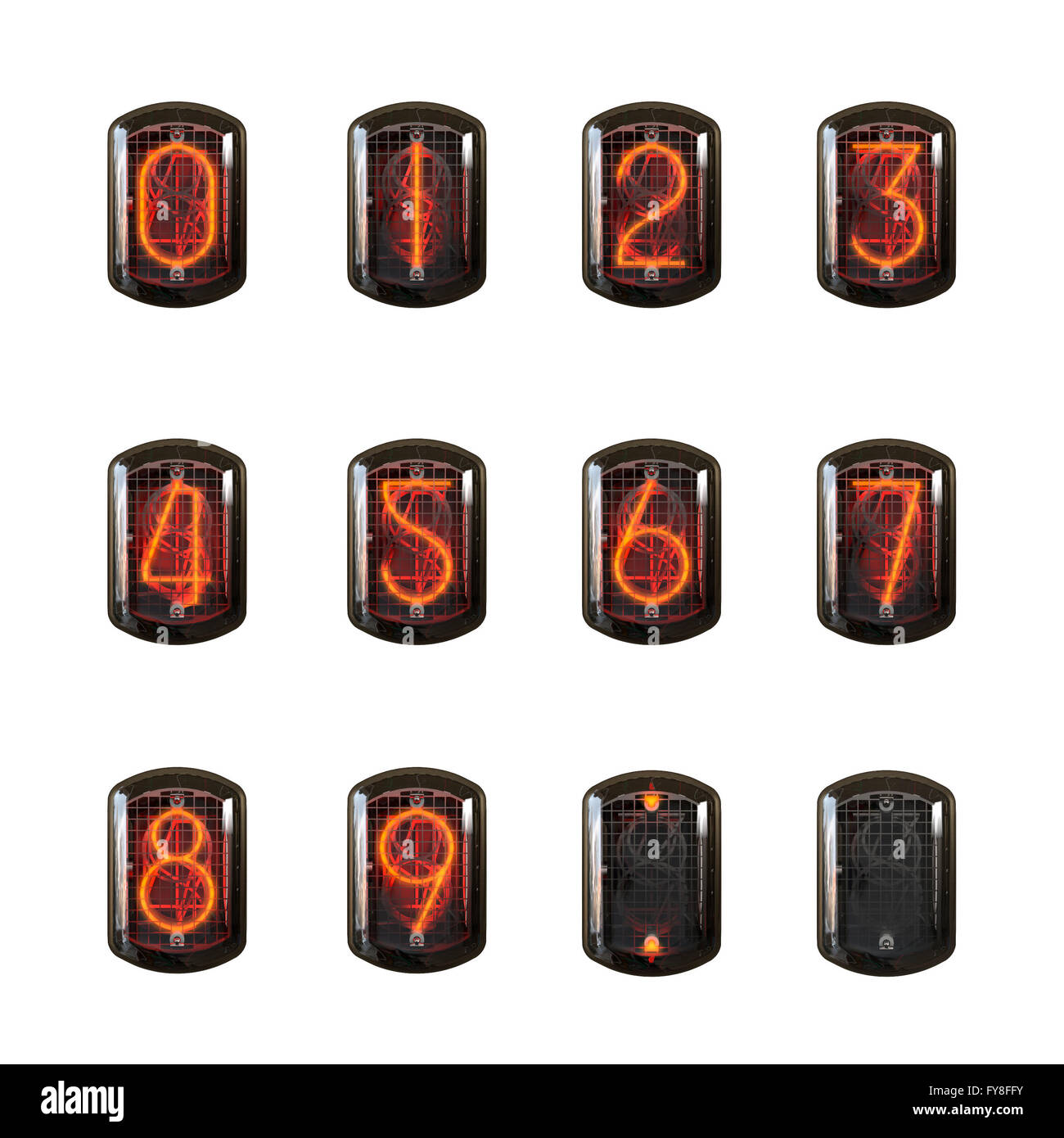Nixie clock numbers set  Cathode digit in a little glass dome vector