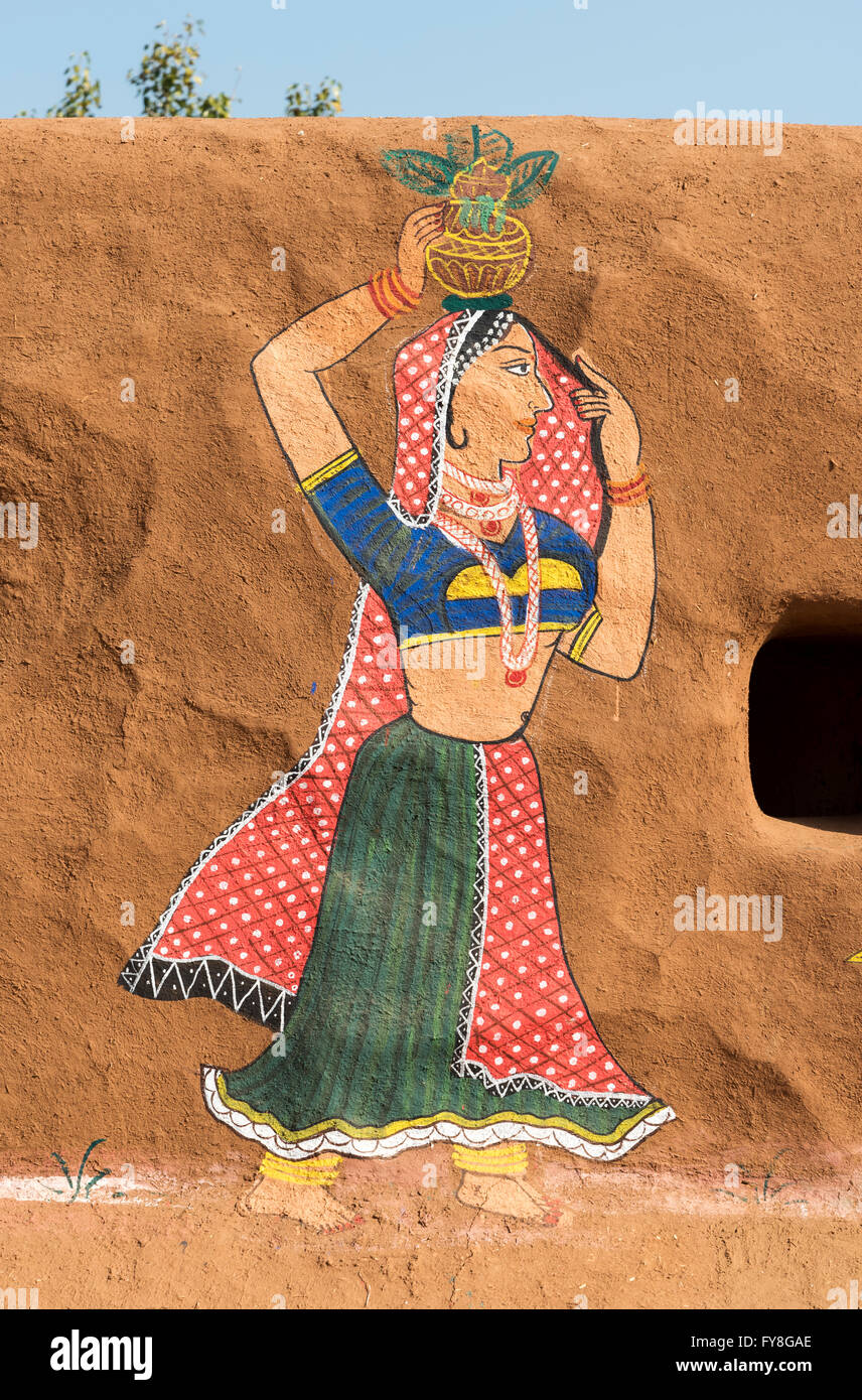Traditional Painting On A Clay Wall In Rural Rajasthan Shilpgram Crafts Village Near Udaipur