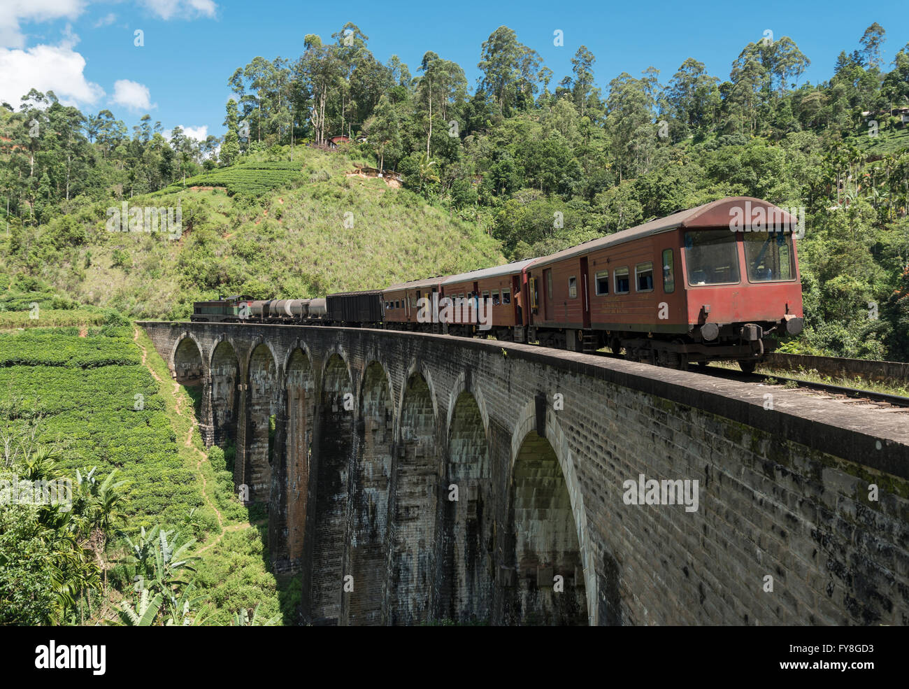 Train on Nine Arches Bridge, near Ella, Sri Lanka Stock Photo