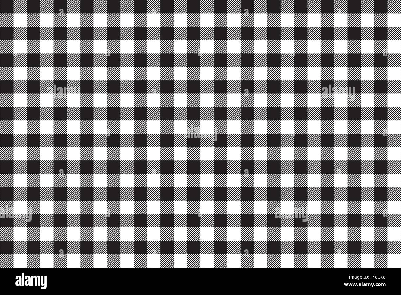 Tablecloth Background Black Seamless Pattern. Vector Illustration Of  Traditional Gingham Dining Cloth With Fabric Texture. Check