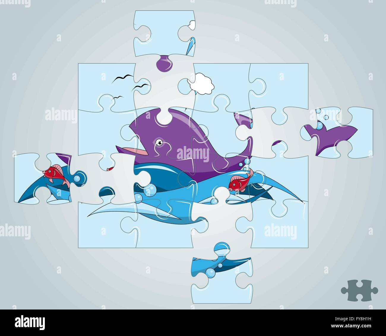 Puzzle fish on the waves in the ocean vector illustration - Stock Vector