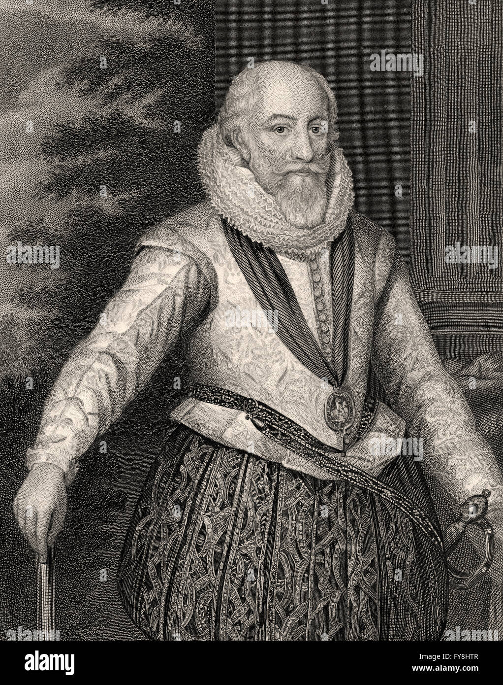 Edward Somerset, 4th Earl of Worcester, c. 1550-1628, an English aristocrat and an important advisor to King James - Stock Image