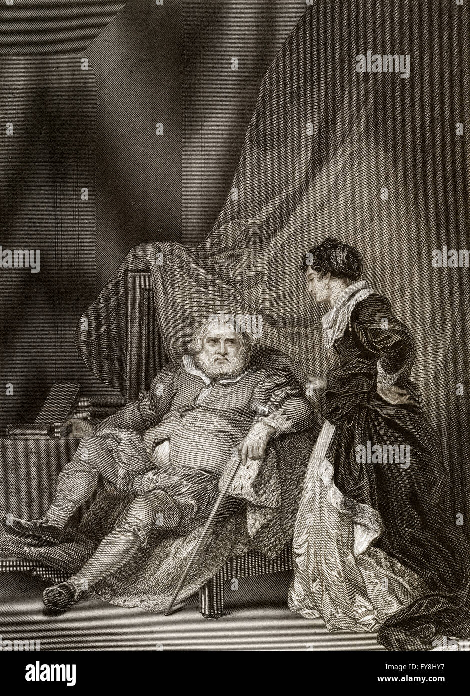 Henry VIII,  1491-1547, King of England and Catherine Parr, 1512-1548, his last wive - Stock Image