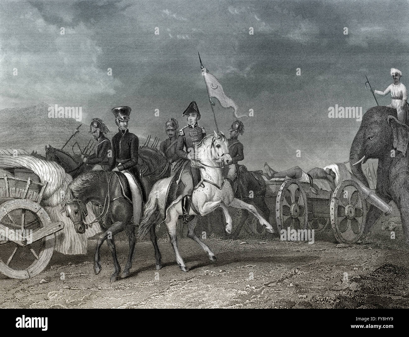 Arthur Wellesley, 1st Duke of Wellington, 1769-1852, defeats Indian leader Dhondia Wagh,  battle of Konagal or Conaghalli, - Stock Image