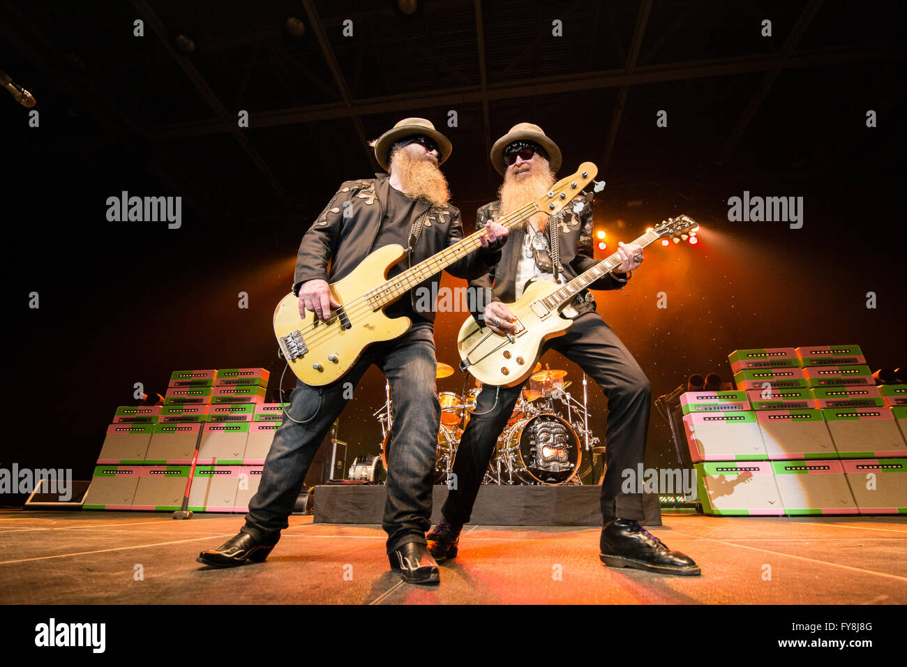 Billy Gibbons and Dusty Hill of ZZ Top @ Abbotsford Centre in Abbotsford, BC on April 7th 2016 - Stock Image