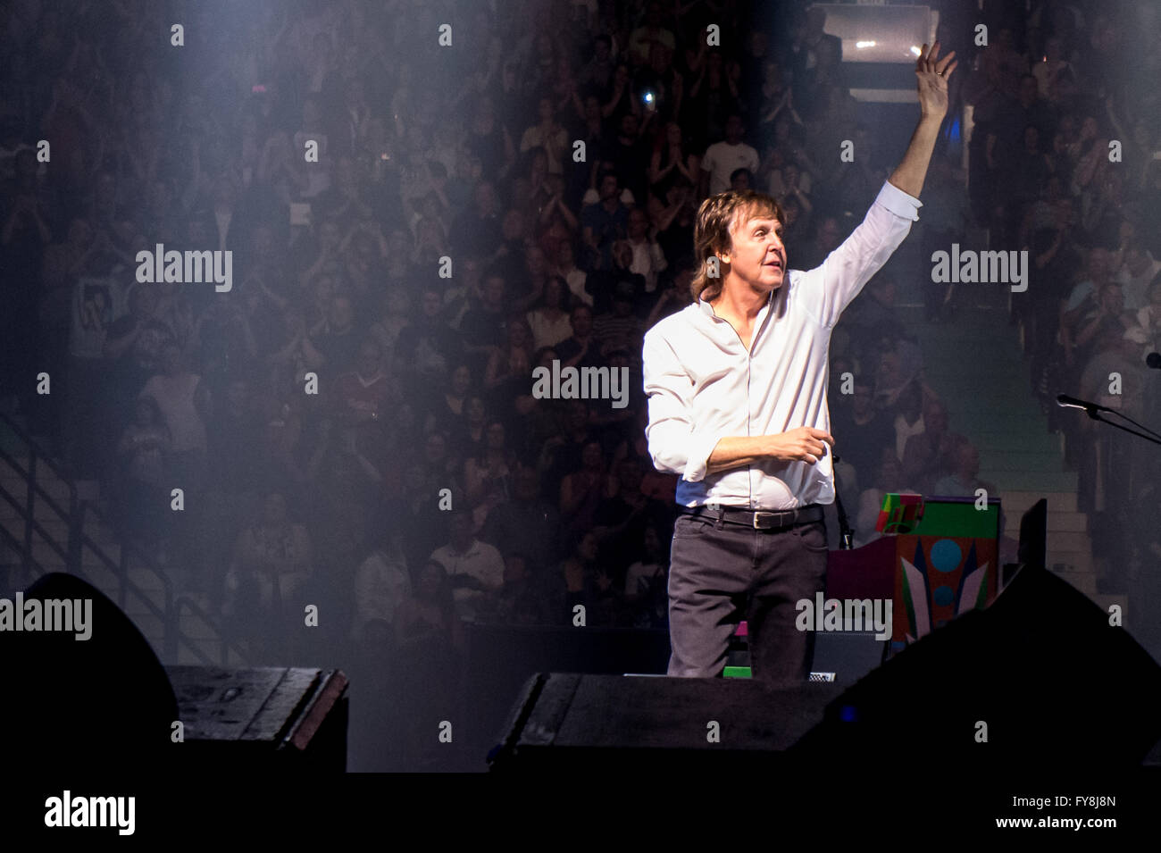 Paul McCartney of The Beatles during his 'One On One' tour @ Rogers Arena in Vancouver, BC on April 20th - Stock Image