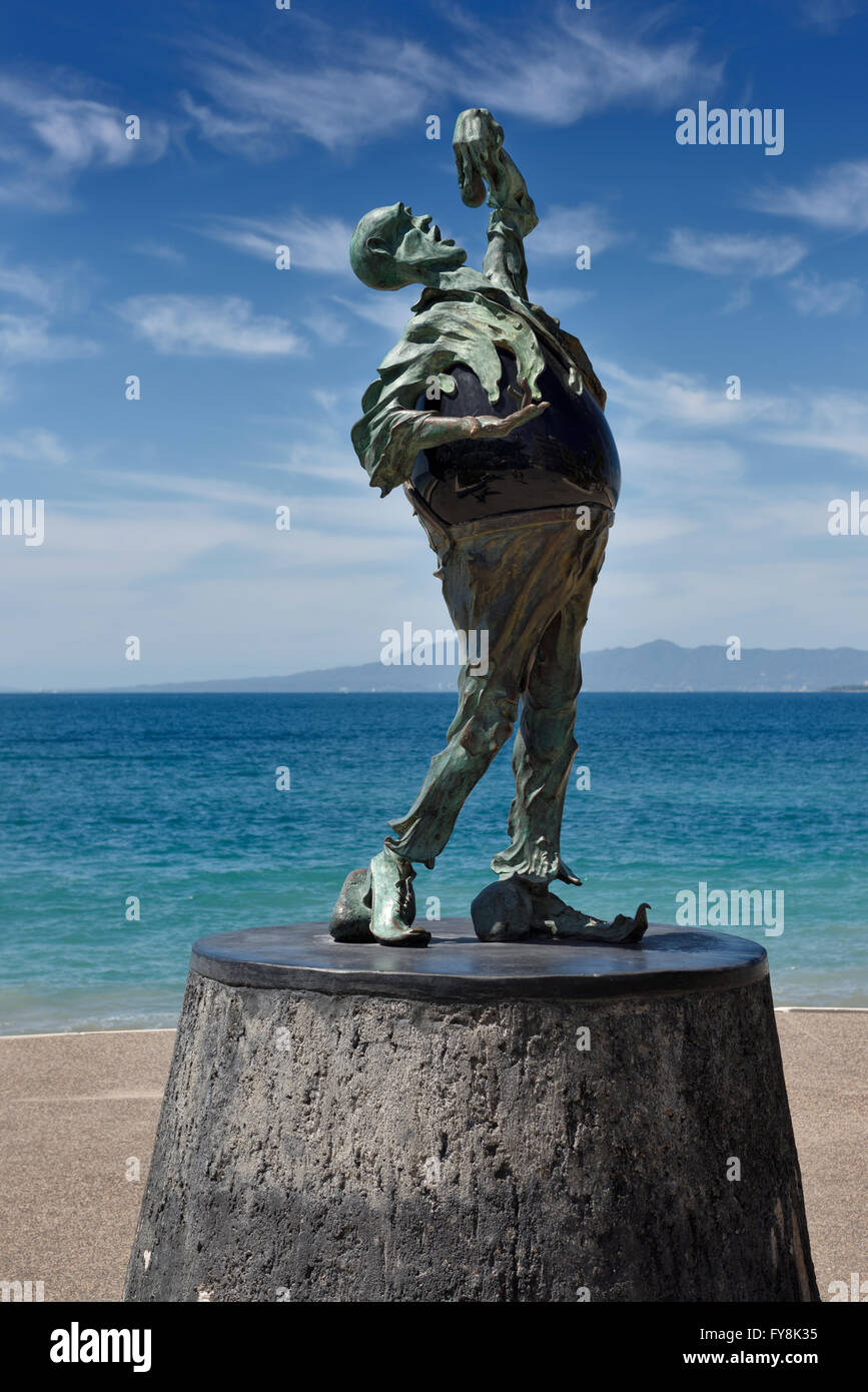 The Subtle Stone Eater bronze and Obsidian sculpture on the Malecon Puerto Vallarta Mexico - Stock Image