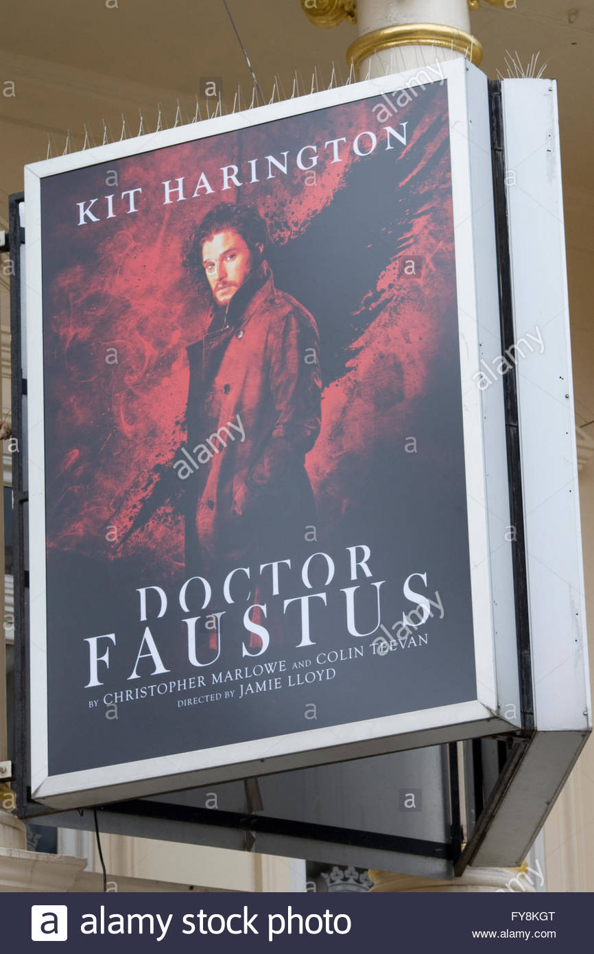 Poster advertising the play,The Tragical History of the Life and Death of Doctor Faustus - Stock Image