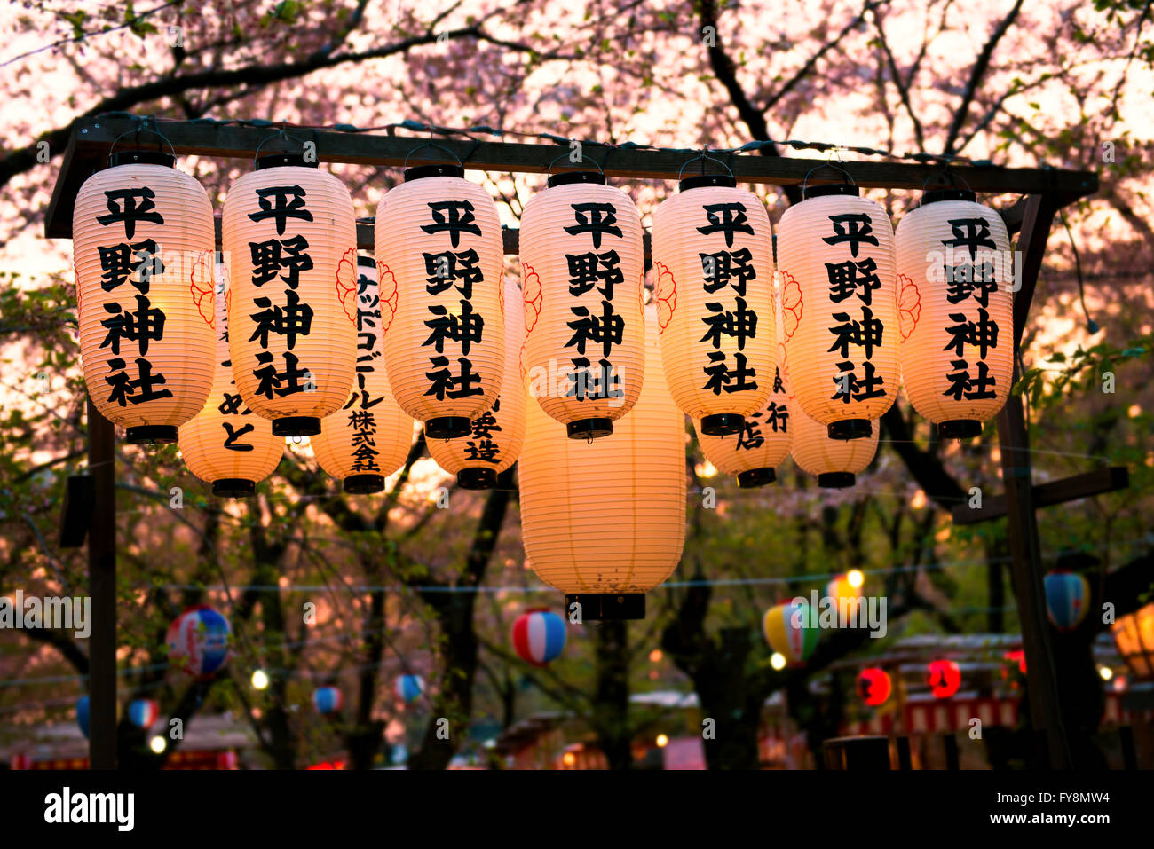 Japan, Kyoto, row of lighted Japanese lanterns in a park atblossoming season - Stock Image