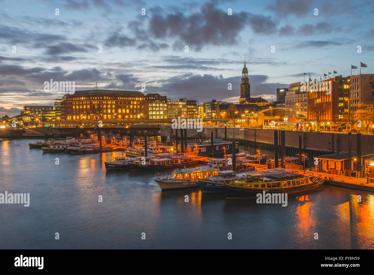 Germany, Hamburg, Inland harbour with St. Michaelis Church - Stock Image