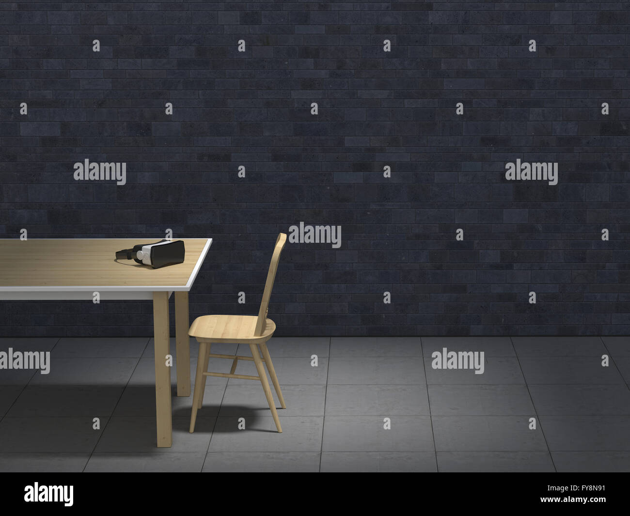 Table with VR glasses in darkened room, 3D-Rendering - Stock Image
