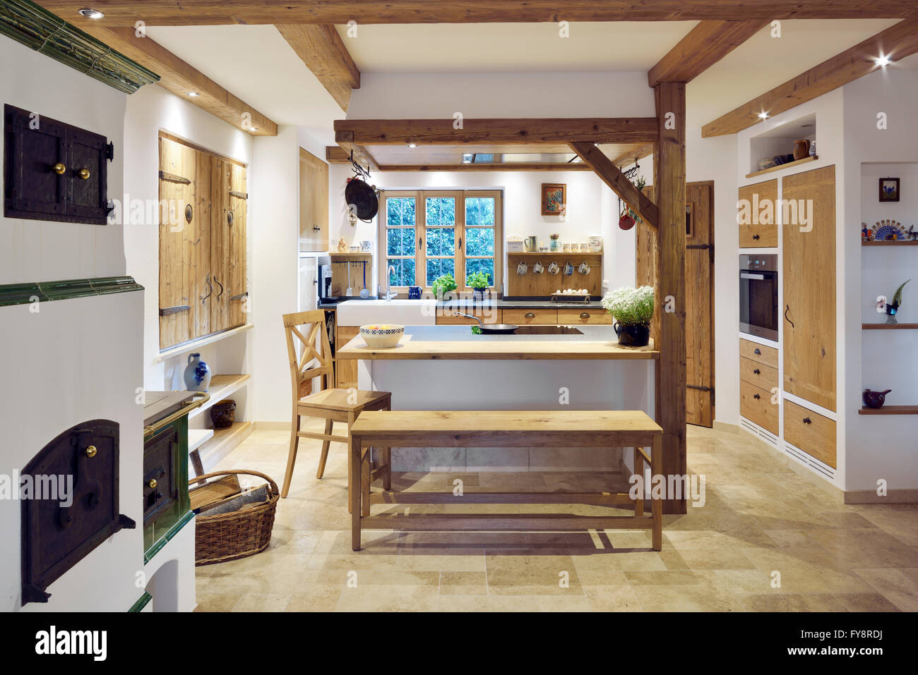 Rustic Country Style Home With Kitchen Island Stock Photo