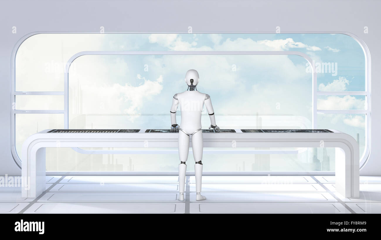 Roboter working in futuristic room, 3D Rendering - Stock Image