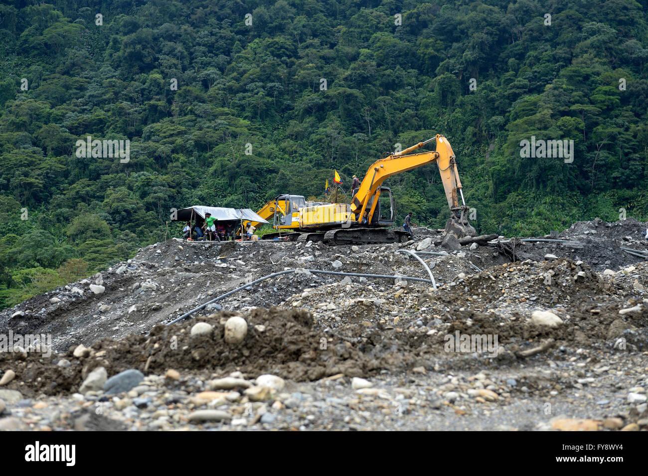 Colombia, Departamento del Choco, illegal gold mine - Stock Image