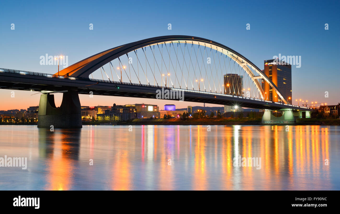 Apollo bridge over river Danube in Bratislava, Slovakia. - Stock Image