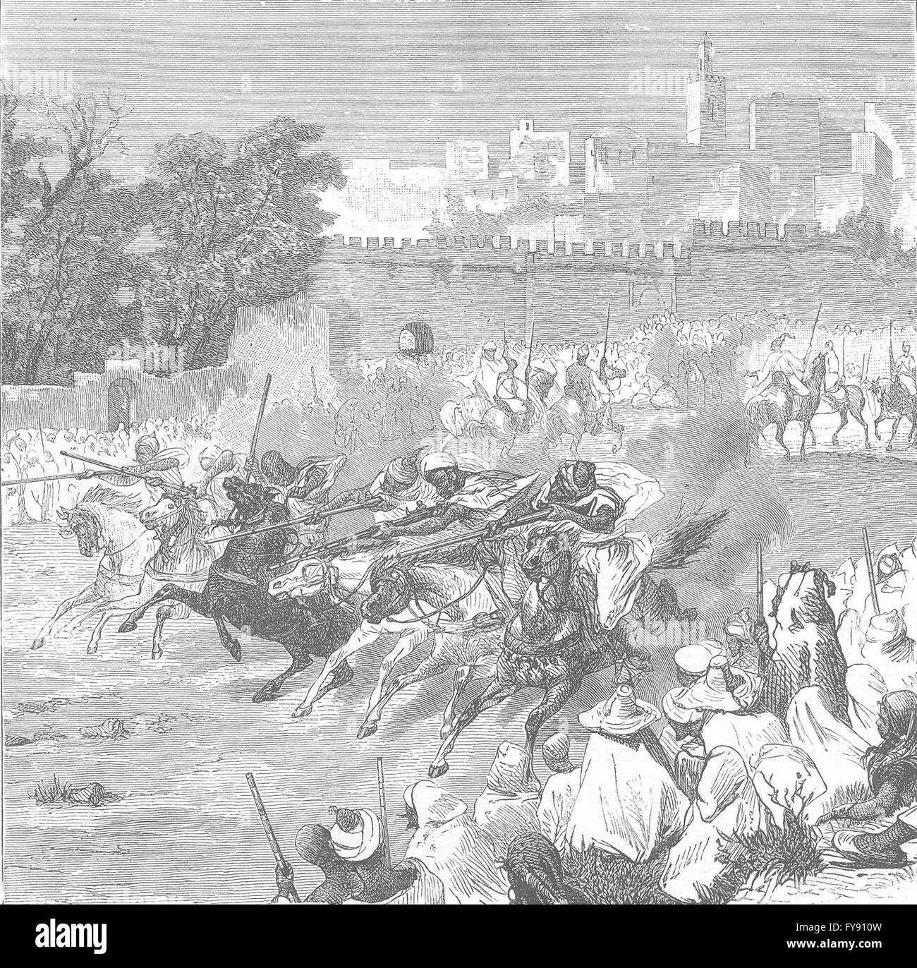 MOROCCO: Charge of horsemen, fete Mohammed, antique print 1882 - Stock Image