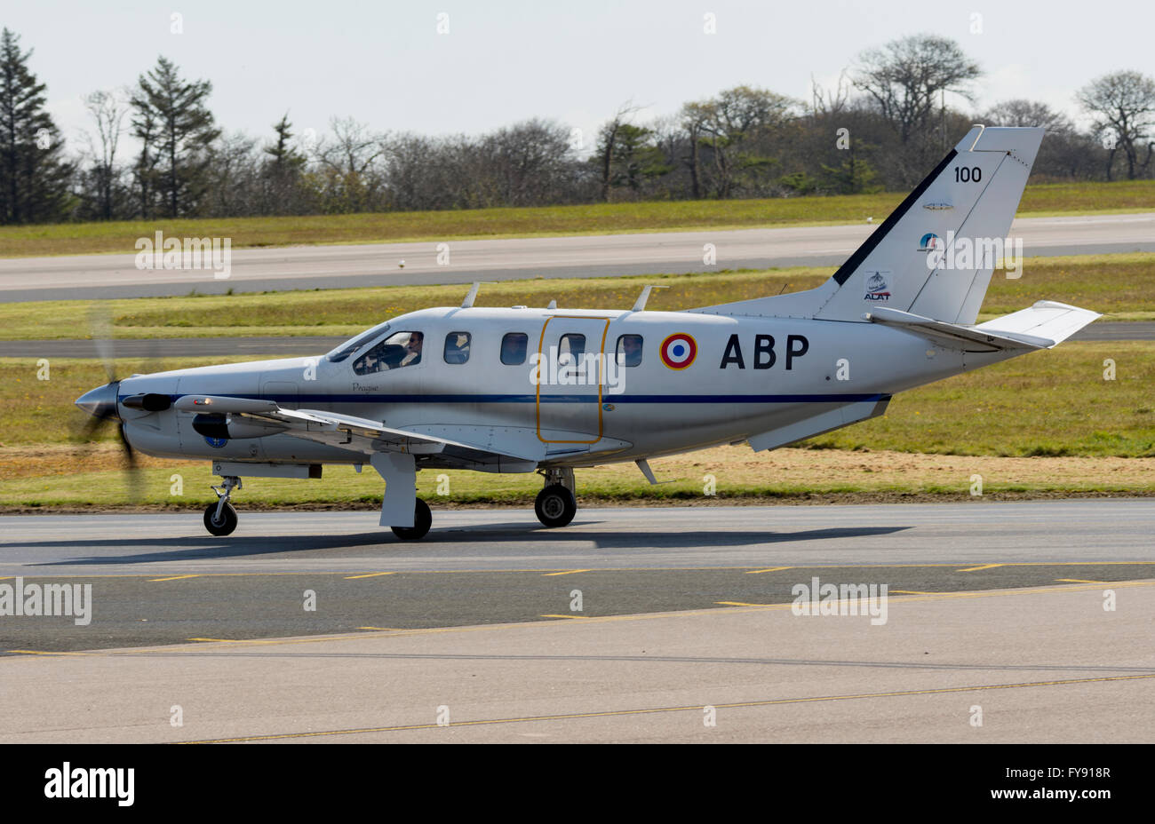 Newquay, Cornwall, UK. 21st Apr, 2016. Socata TBM 700 100/ABP French Air Force in Newquay/RAF St Mawgan as part - Stock Image