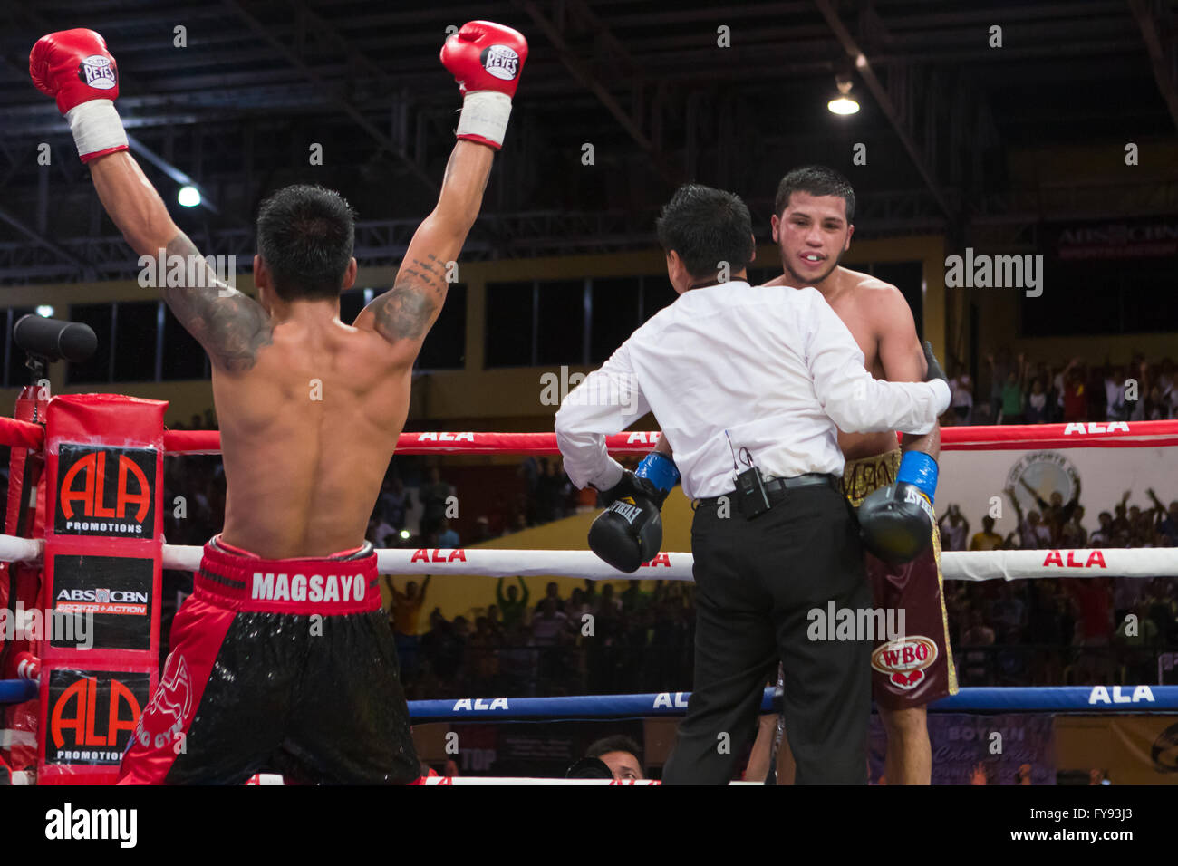 23/4/2016 Cebu City Sports Complex, Cebu City, Philippines.On the same fight card as Donaire vs Bedak, up and coming - Stock Image