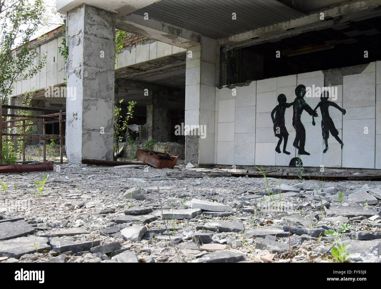 PRIPYAT, UKRAINE. Pictured in this file image is a wall mural in the abandoned town of Pripyat near the Chernobyl - Stock Image