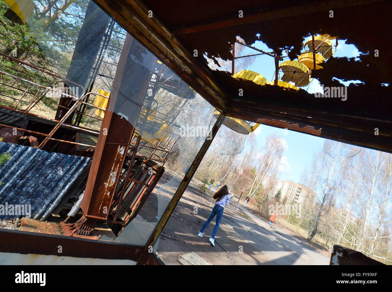 PRIPYAT, UKRAINE. Pictured in this file image is a ferris wheel in the abandoned town of Pripyat near the Chernobyl - Stock Image