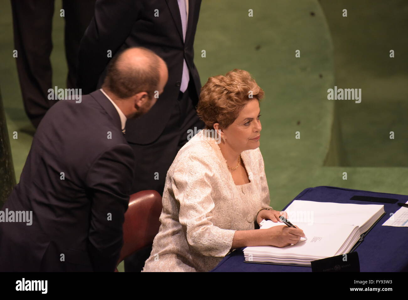 New York City, United States. 22nd Apr, 2016. Dilma Rousseff, president of Brazil, signs Paris Climate Accord. The - Stock Image