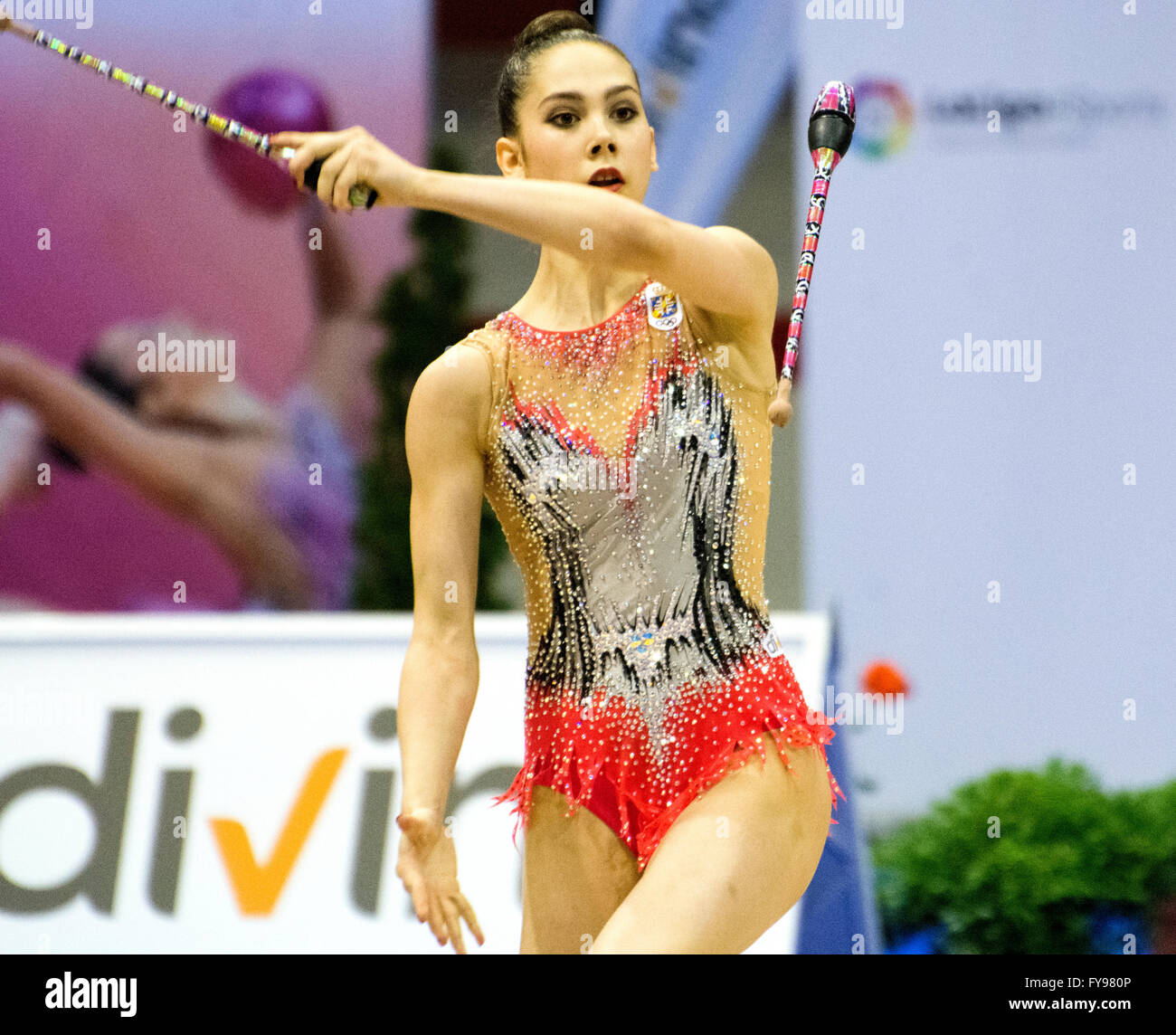 Gijon, Spain. 23rd April, 2016. Polina Berezina perfoms with the clubs during the Spanish Queen Cup of Rhythmic - Stock Image