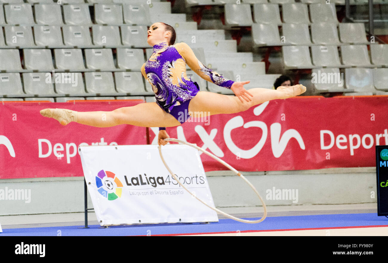 Gijon, Spain. 23rd April, 2016. Crisitina Bello hoop during the Spanish Queen Cup of Rhythmic Gymnastics played - Stock Image