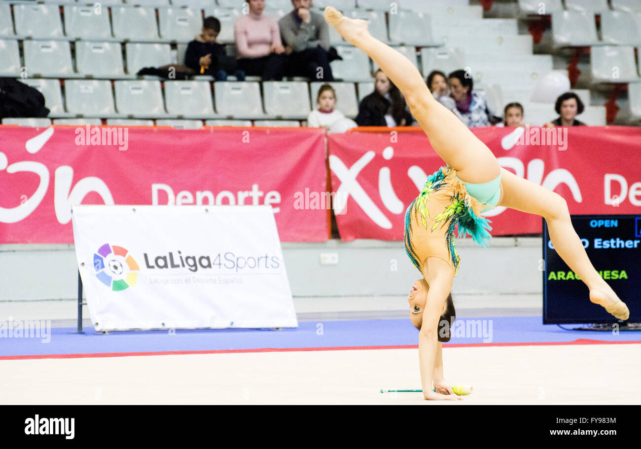 Gijon, Spain. 23rd April, 2016. Esther Cobo perfoms with the clubs during the Spanish Queen Cup of Rhythmic Gymnastics - Stock Image