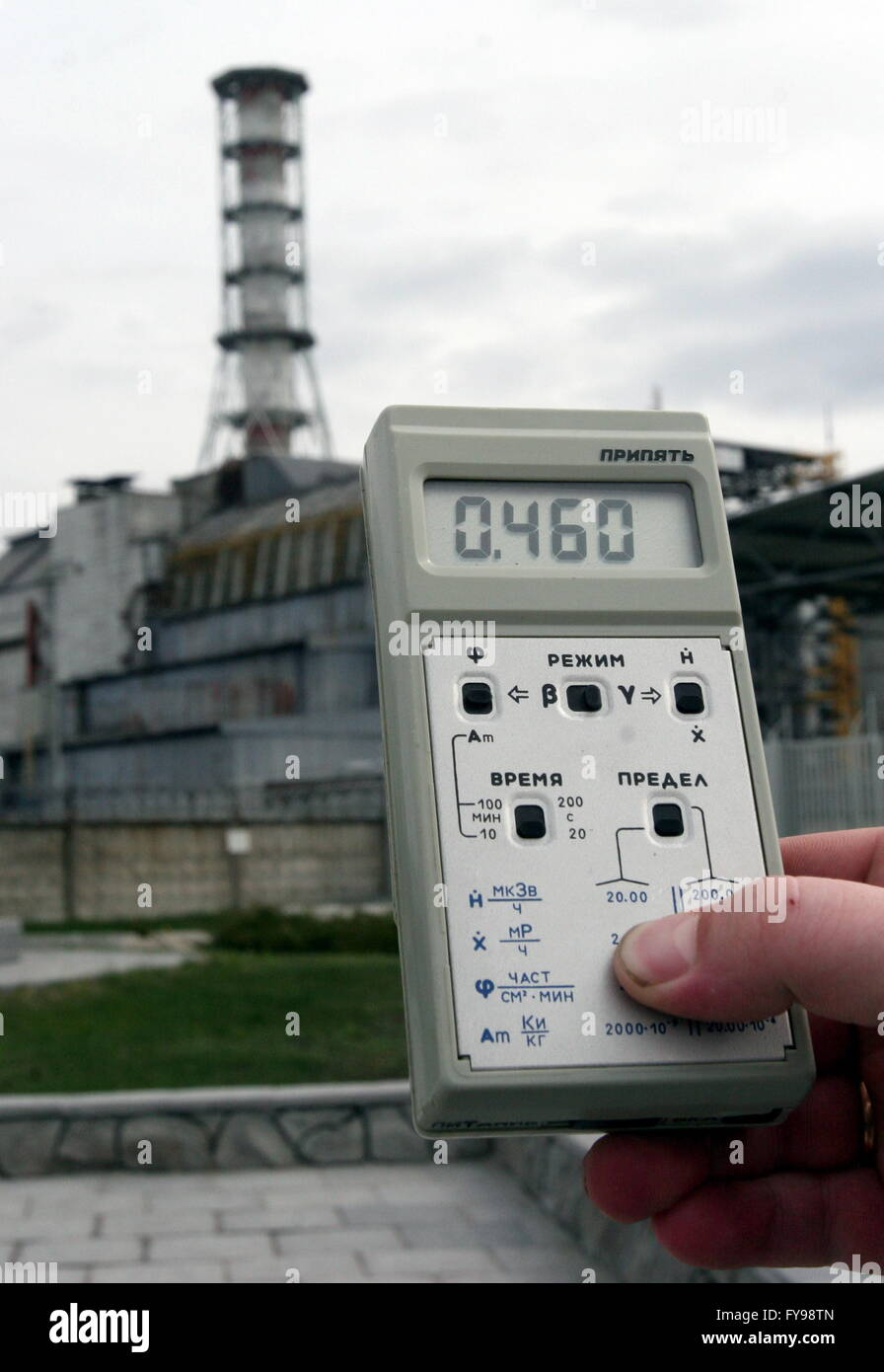 CHERNOBYL, UKRAINE. Measuring radiation level at the Chernobyl power station. On April 26, 1986, the fourth reactor - Stock Image