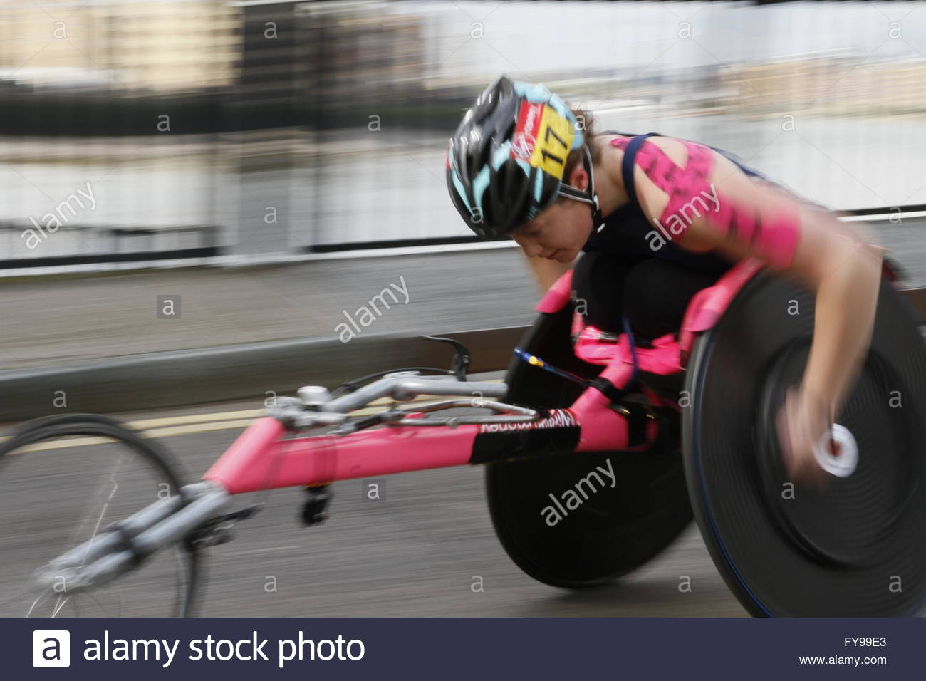London, UK. 24th April, 2016.Paralympian competitors taking part in the Virgin Money London Marathon,  Narrow Street, - Stock Image