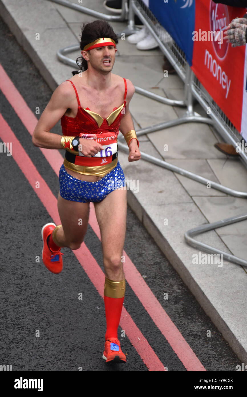 Victoria Embankment, London, UK. 24th April 2016. Runners take part in the Virgin London Marathon 2016 © Matthew Chattle/Alamy Stock Photo