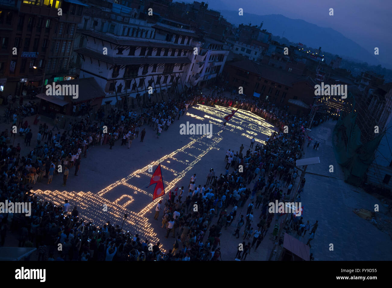 Kathmandu. 24th Apr, 2016. Photo taken on April 24, 2016 shows candles to commemorate the people who died in the - Stock Image