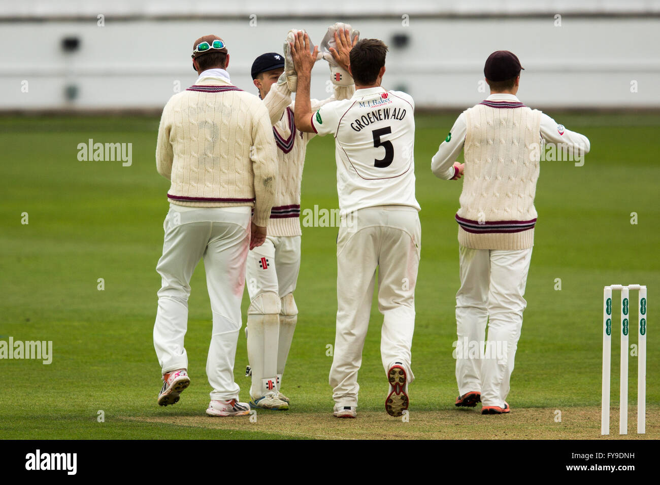 London, UK. 24 April 2016. Groenewald celebrates getting the wicket of Steve Davies bowling for Somerset on Day - Stock Image
