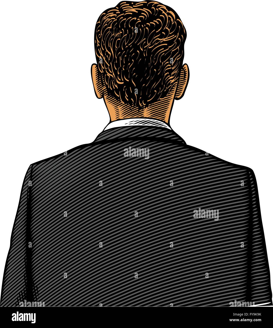 Man in suit from back or rear view in engraving style - Stock Vector