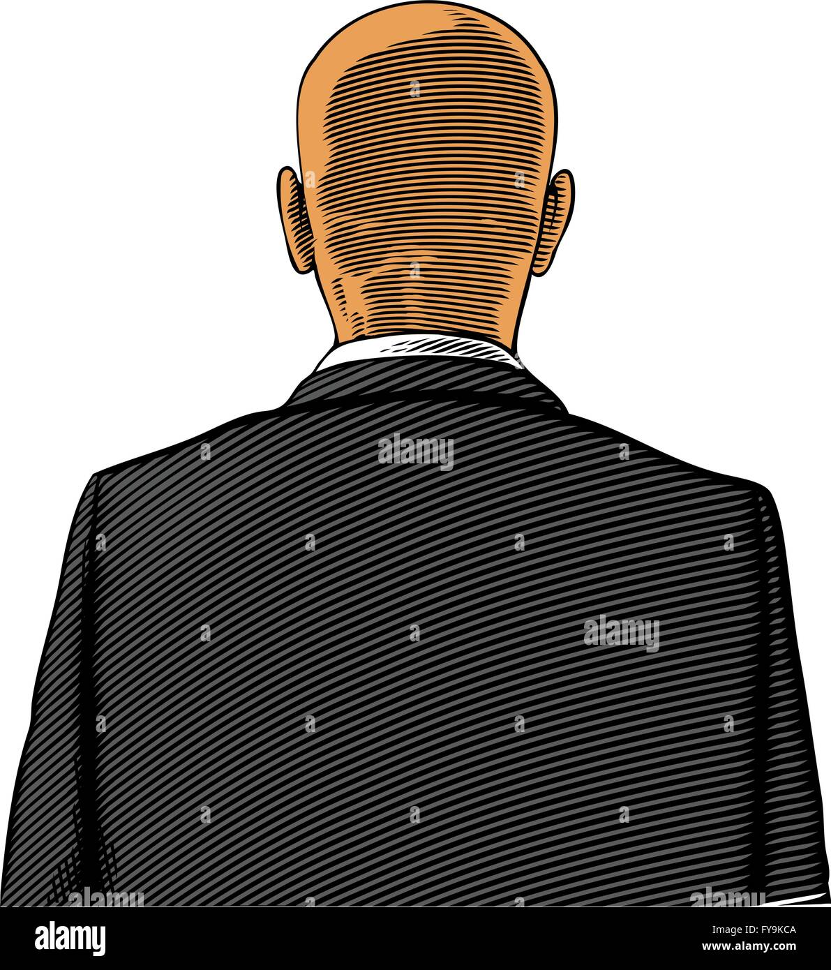 Rear view of bald man in engraving style - Stock Vector