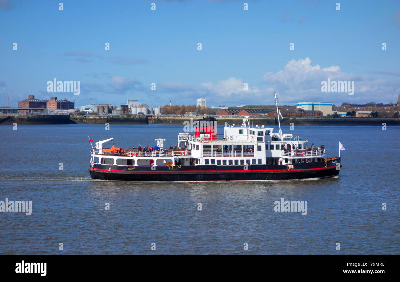The MV Royal Iris of the Mersey ferry viewed from Albert Dock, Liverpool, Merseyside, England, UK - Stock Image