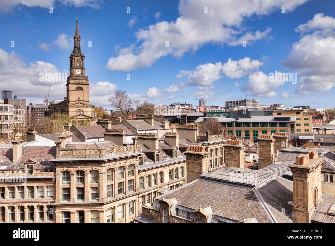 A view over the roof tops to All Saints Church, Newcastle-upon-Tyne, Tyne and Wear, England, UK Stock Photo