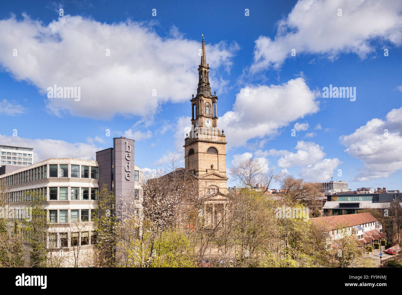 The Newcastle-upon-Tyne skyline, with Bede House and All saints Church, England, UK Stock Photo