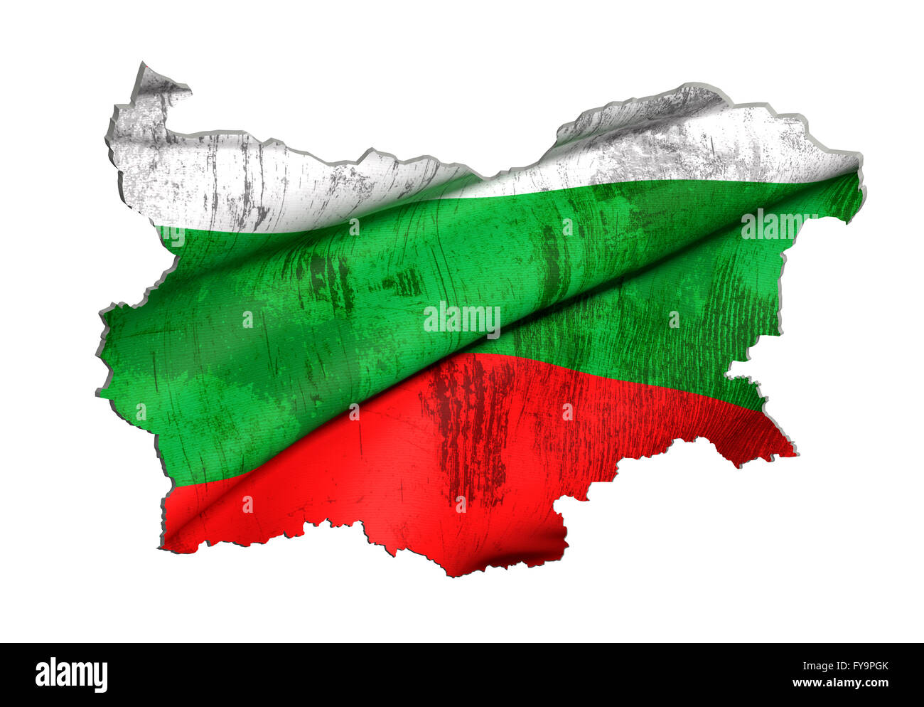 3d rendering of Bulgaria map and flag on white background. Stock Photo